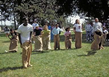 sack, sack race, play, compete, picnic, games, fun, Alameda, California, jump