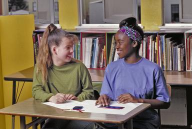 cooperation, teens, girls, multi-ethnic, school, library, Oakland, California