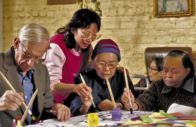 Seniors, daycare facility, craft, therapy, San Francisco, old age, Asian American, On Lok, 0_ NEW IMAGES _0