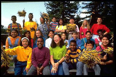 Kids groups, school, outdoors, multi-ethnic, group