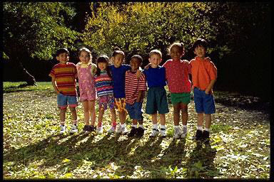 Kids groups, outdoors, multi-ethnic, group