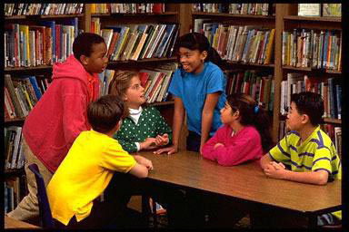 Kids groups, school, class, multi-ethnic, diverse, library, group