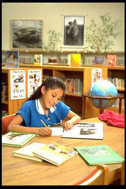 elementary, school, girl, studying, library, Native-American