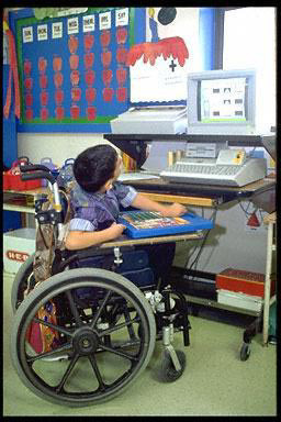 elementary, school, wheelchair, computer, classroom, boy, disabled