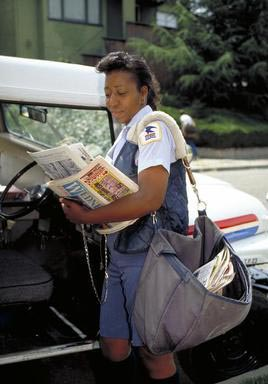 mail, post, lettercarrier, African American, Oakland, California, US Postal Service, Postal Service, Federal Government