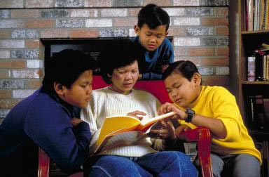 reading, Cambodian, Cambodian American, mother, sons, home, Modesto, California, immigrants, SE Asia