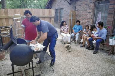 San Antonio, bbq, barbeque, hispanic, backyard, food, cook, cooking, meat, sauce, Texas, family, companionship