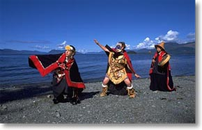 Members of the Eagle clan dance on the beach at Metlakatla .